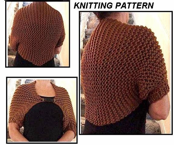 Shrug Knitting Patterns For Beginners : KNITTED SHRUG Knitting Pattern chest 30 to 56 by Hectanooga