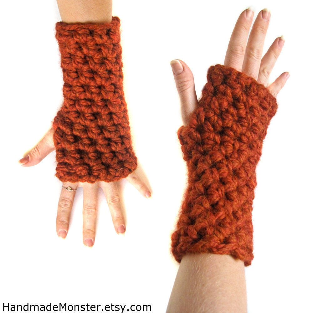 crochet ARM WARMERS FINGERLESS you pick the color sports team gloves warm wrist warmers soft wool burnt orange spice fall - HandmadeMonster