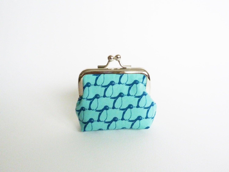 Coin purse turquoise and blue penguin design cotton purse