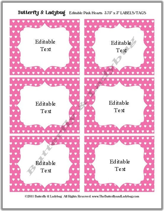 - Printable EDITABLE Pink and White Hearts Tags/ Stickers/ Labels ...