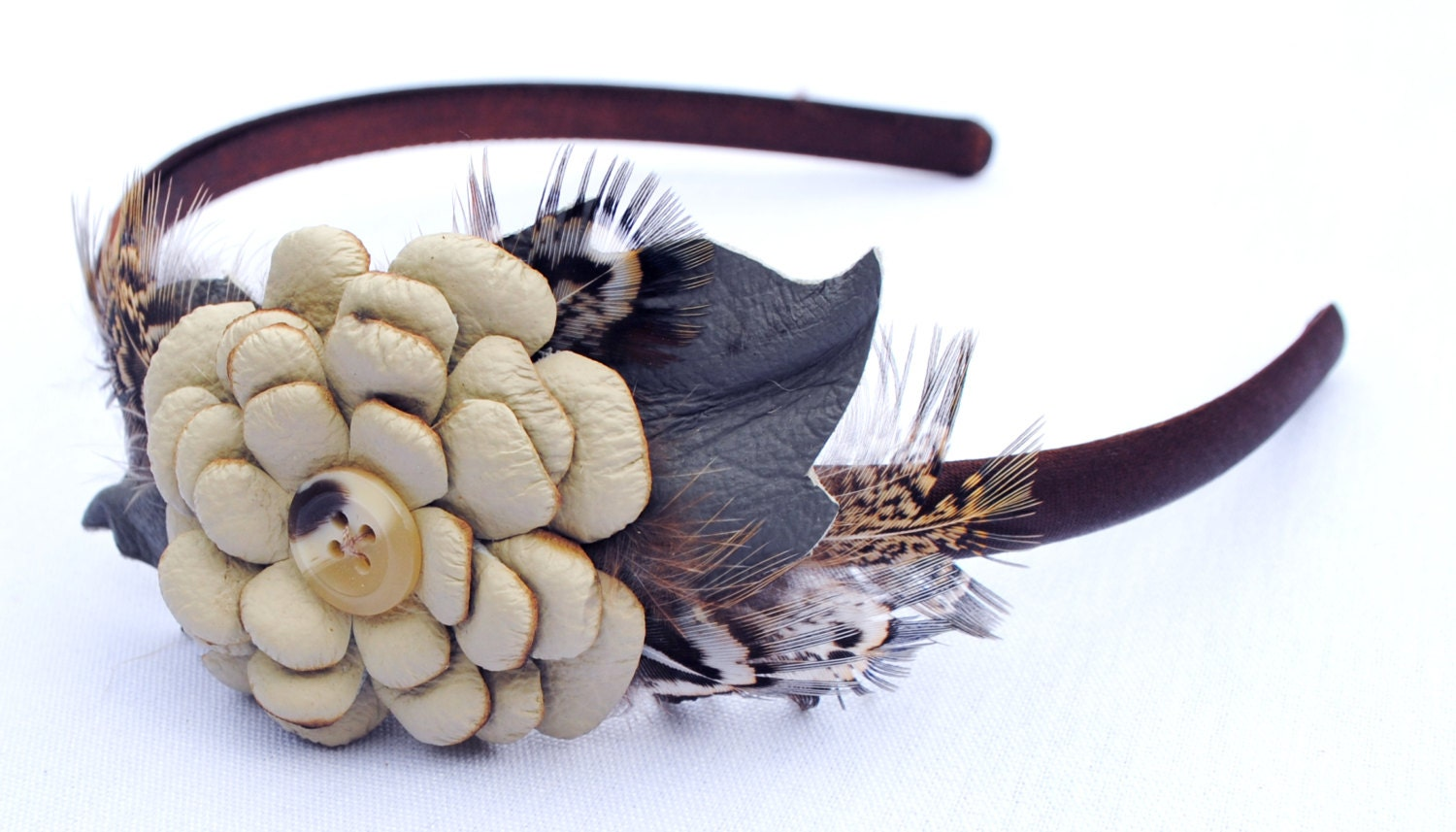 Leather Flowers Headband, with Gamebird Feathers