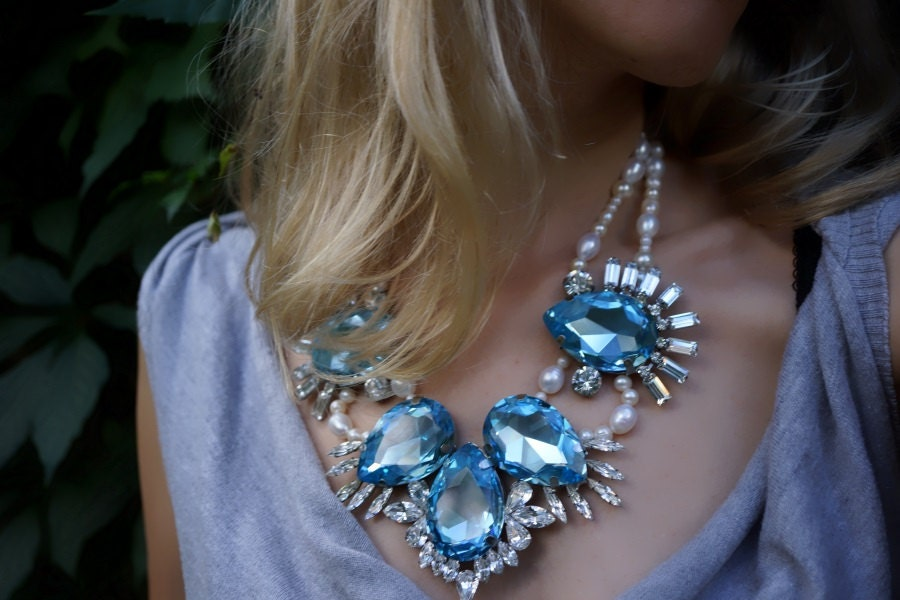 Catherine - Azure swarovski rhinestones and fresh water pearls statement necklace