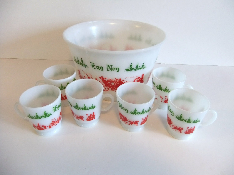 Vintage Milk Glass Egg Nog bowl and mugs by NimblesNook on Etsy
