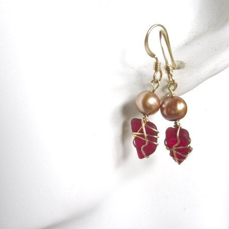 Red Sea Glass Nuggets  Earrings  with Bronze Pearls and wrapped with Gold -Bold  Red - oceangirlcollection