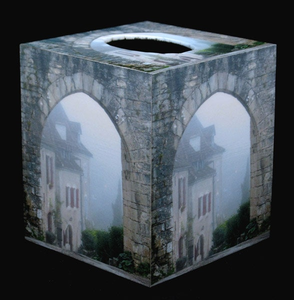 Tissue Box Cover Entry to St Cirq in Fog