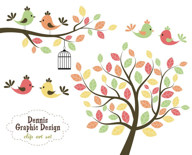Buy 2 get 2 free cute bird clip art trees by for Cute tree drawing