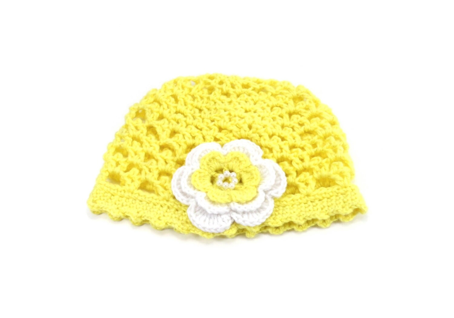 Crocheted Baby Hat with Flower - Yellow - SasasHandcrafts