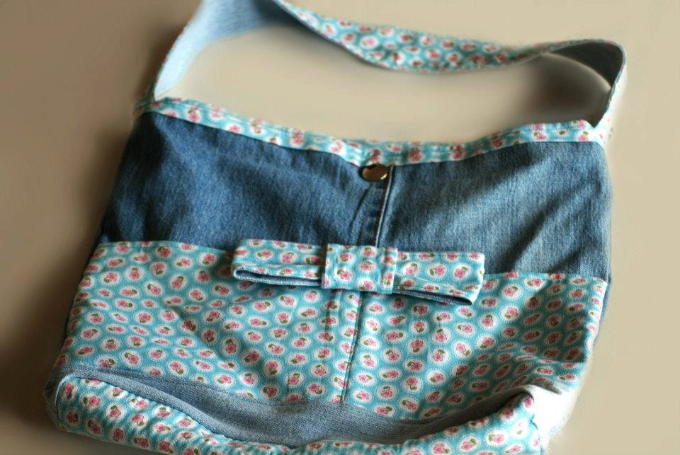 Designed recycled jeans bag