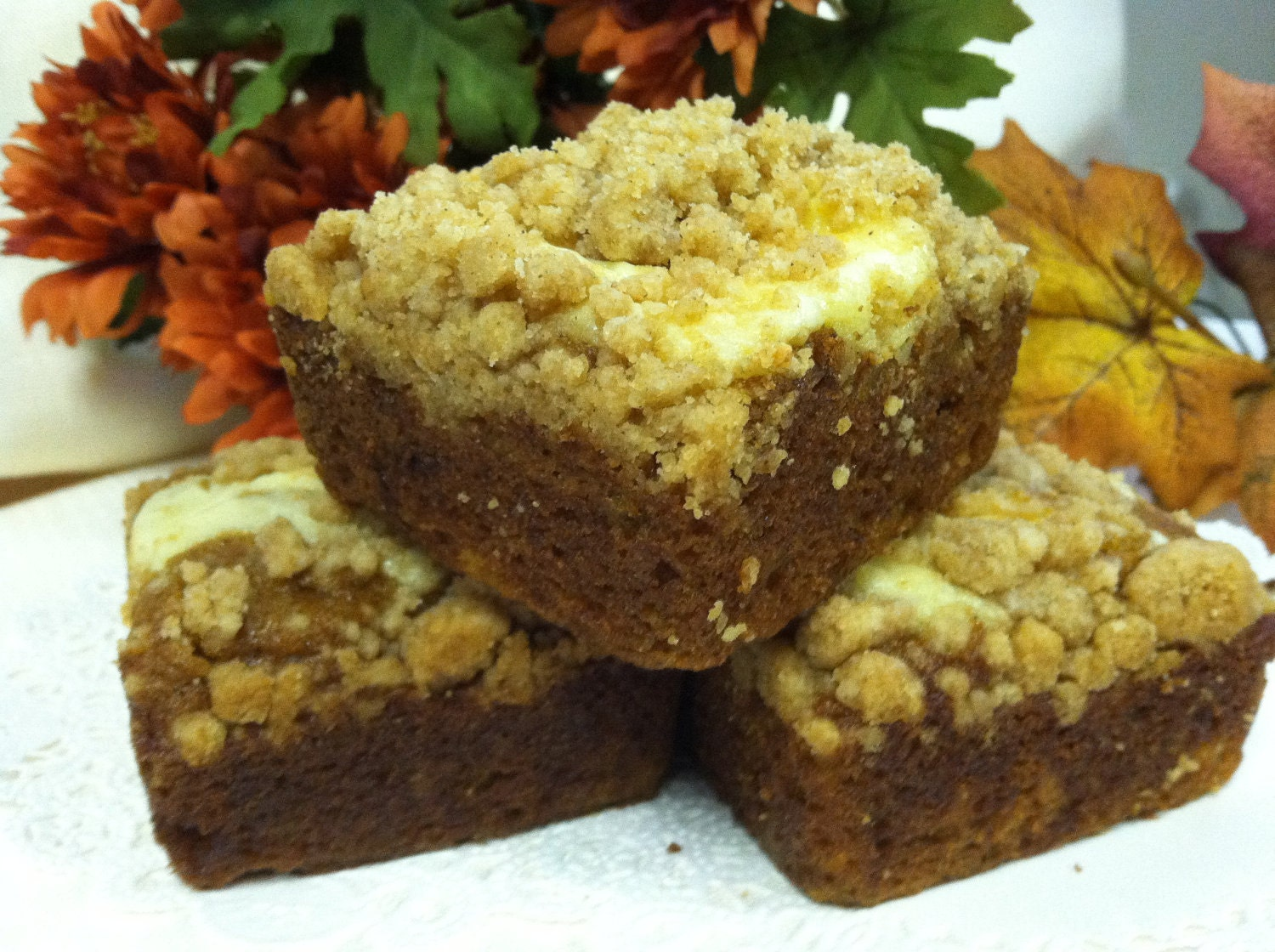 Pumpkin Cream Cheese Crunch Brownies - CresCrumbCakes