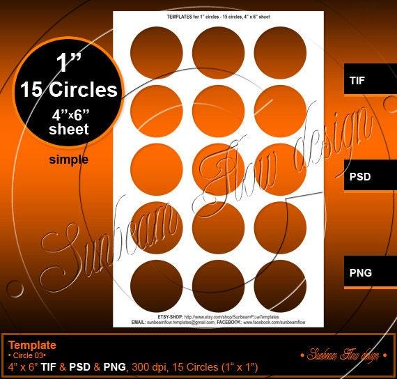 "INSTANT DOWNLOAD - 1"" Circles 03 TEMPLATE 4x6 Printable Bottle cap ..."