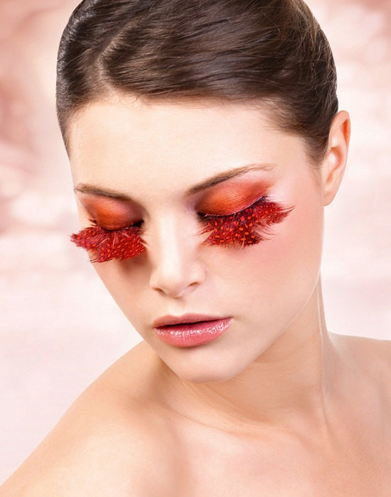 Guinea hen Feather False Lashes for Party/ RED /Burning Man/ TREASURY ITEM - OaktopiaDesign