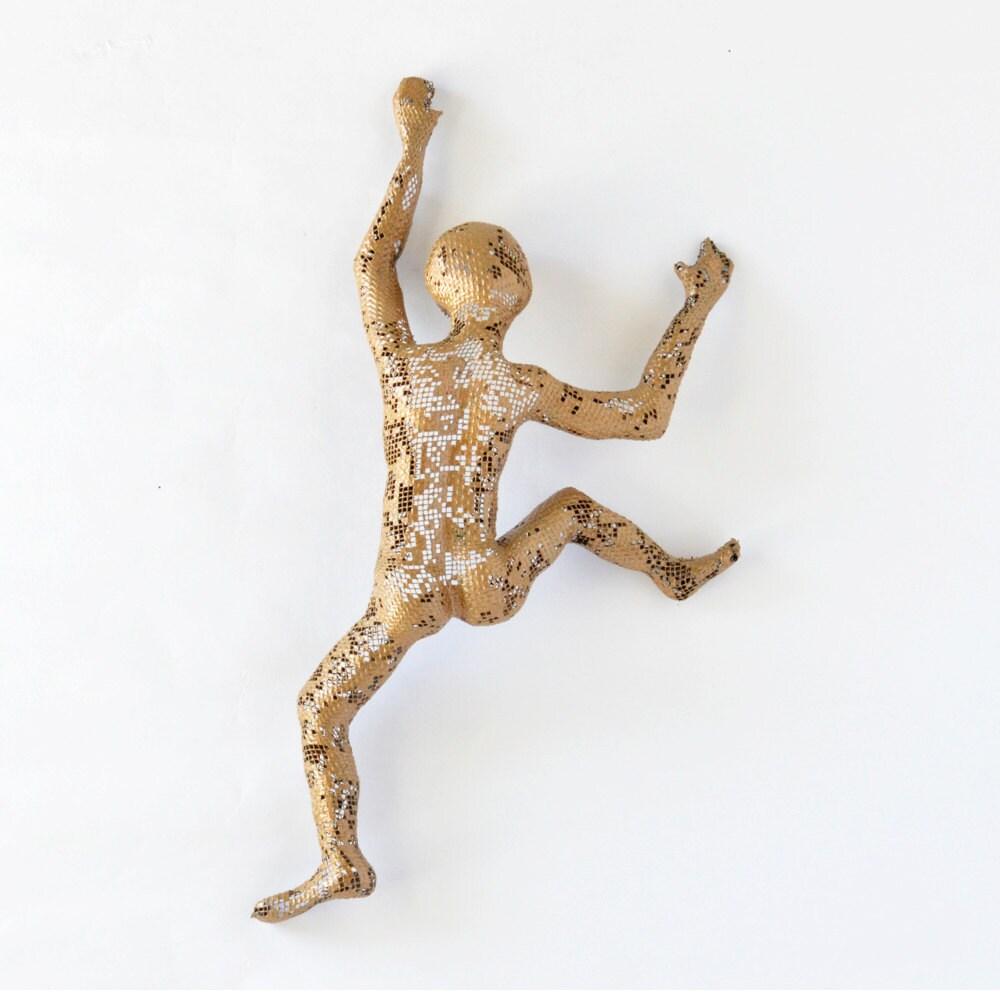 Climbing Man Wall Art metal wall art - climbing man sculpture, wire meshnuntchi