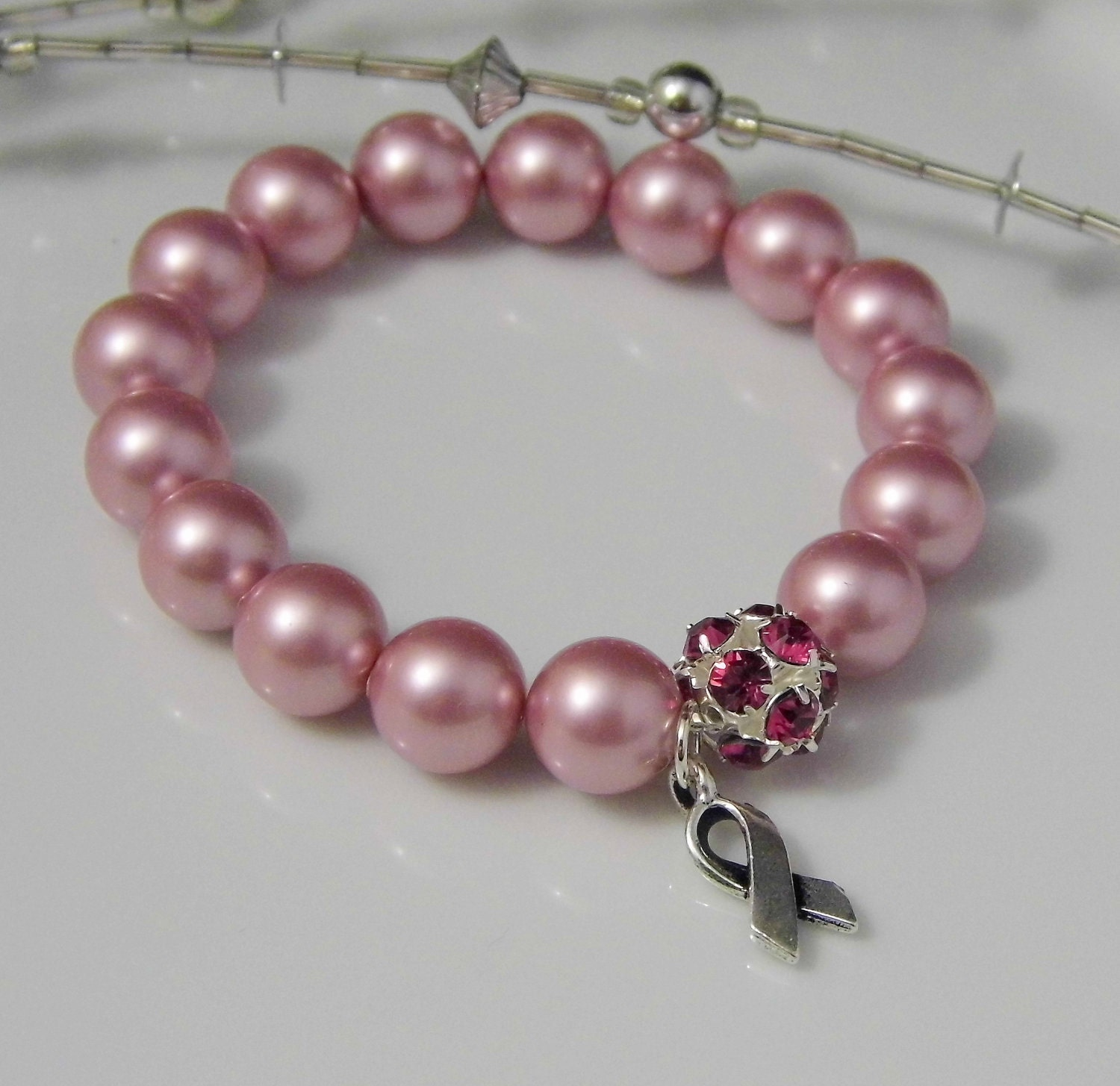 Breast Cancer Bracelet- Pink Pearls, Silver Rhinestone Ball and Ribbon Charm