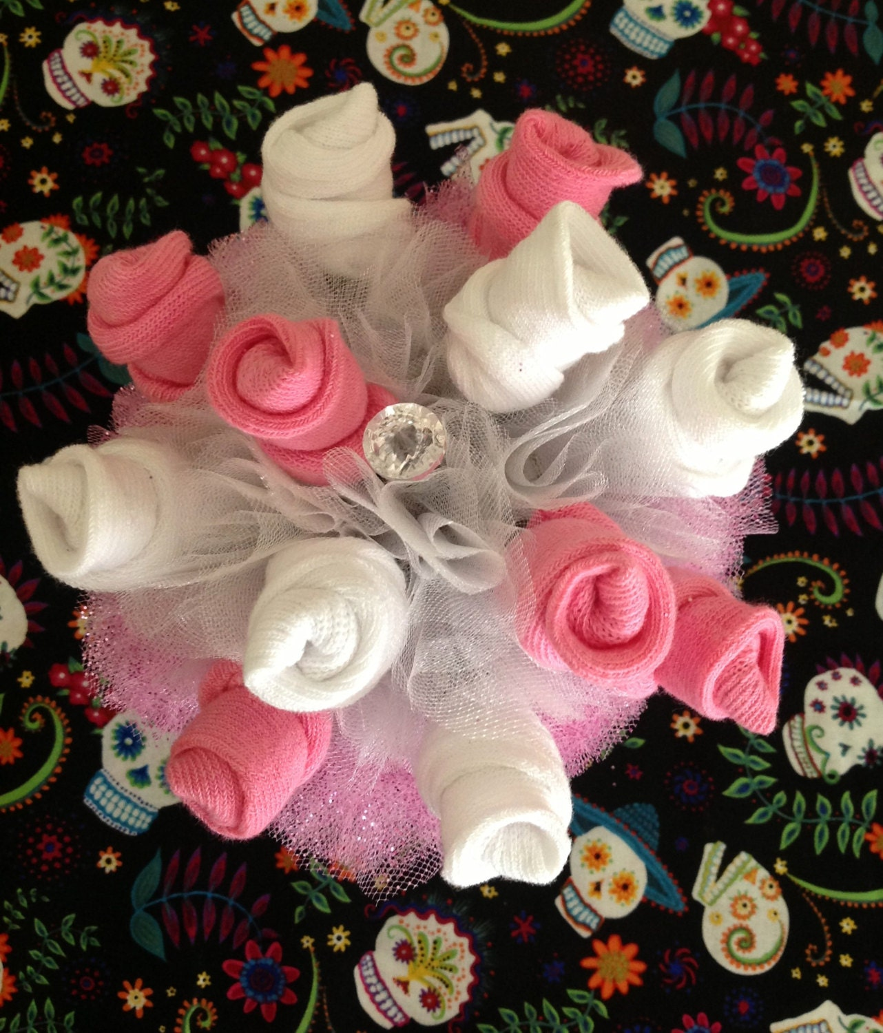 Items similar to Baby Sock Bouquet – Sugar Skull – Pink or