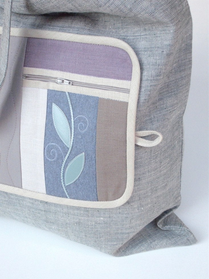 Indian Summer Fold-up Leafy  Eco Shopping Bag made from lilac linen fabric ornamented with leafy motif on a wool felt base. - colettecolor