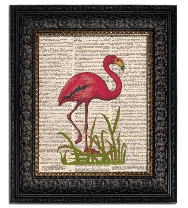Items similar to PINK FLAMINGO II vintage dictionary art ...