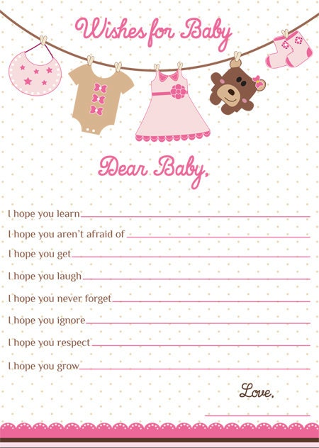 Wishes for baby card girl baby shower wishes for baby girl clothes