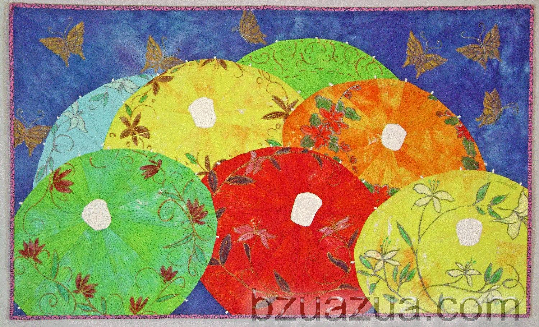 Parasols 1 Art Quilt - QuiltAndFiberArts