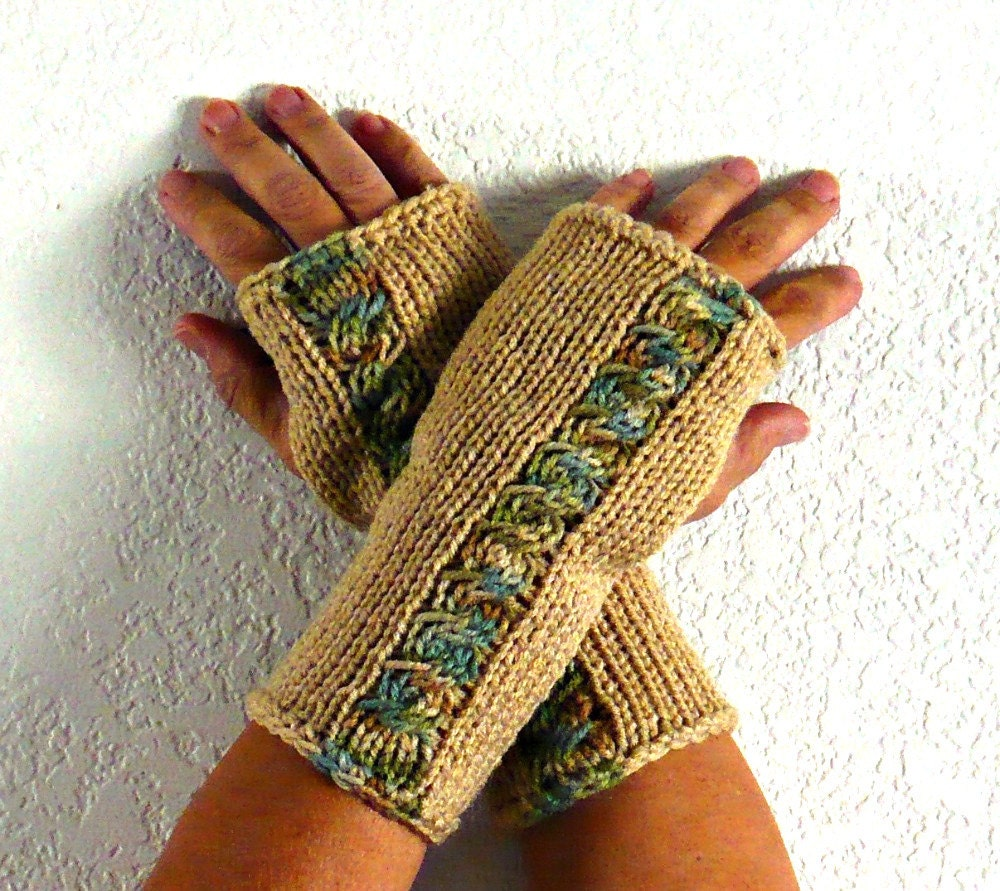 Knit Fingerless Gloves Knit Arm Warmers Knit by ...