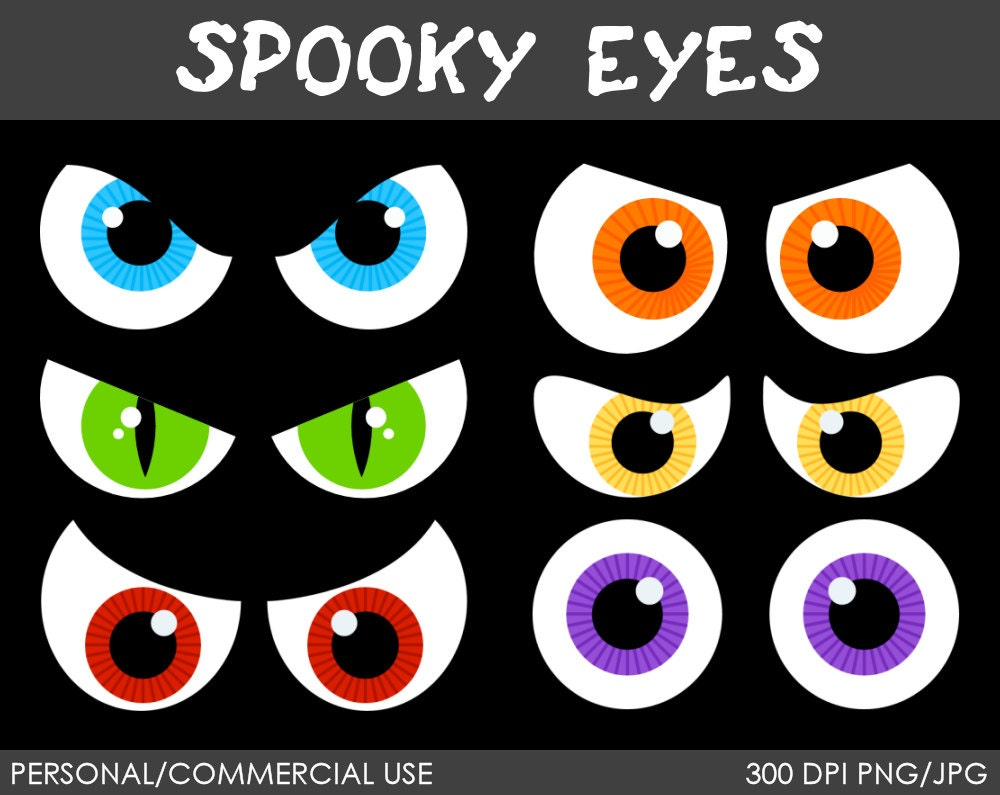 Spooky Eyes Clipart - Digital Clip Art Graphics for Personal or ...