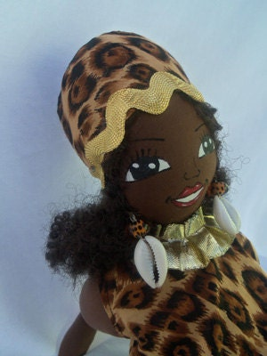 African Art cloth black doll 15 inches handmade ooak