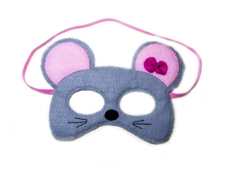 mouse felt mask for kids grey childrens animal by feltfamily