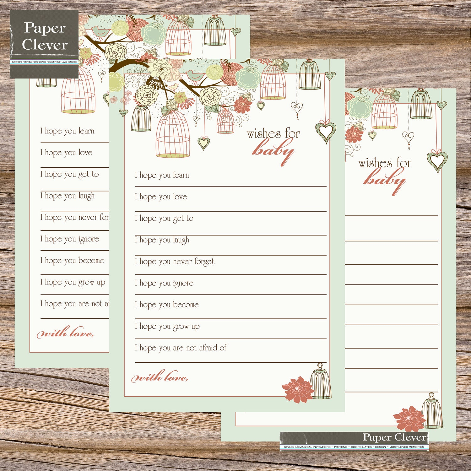 baby shower well wishes shabby chic birdcage by paperclever