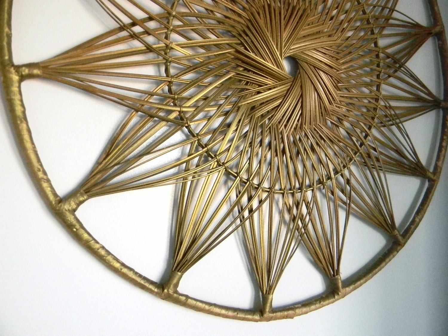Rattan Wall Decor Round : Vintage woven sunburst wall hanging decor wood round by