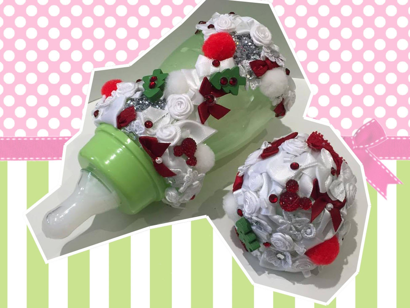 Christmas xmas Romany Reborn 5oz  Baby Bottle fake faux milk formula Milk Suit Doll greenwhitered bling