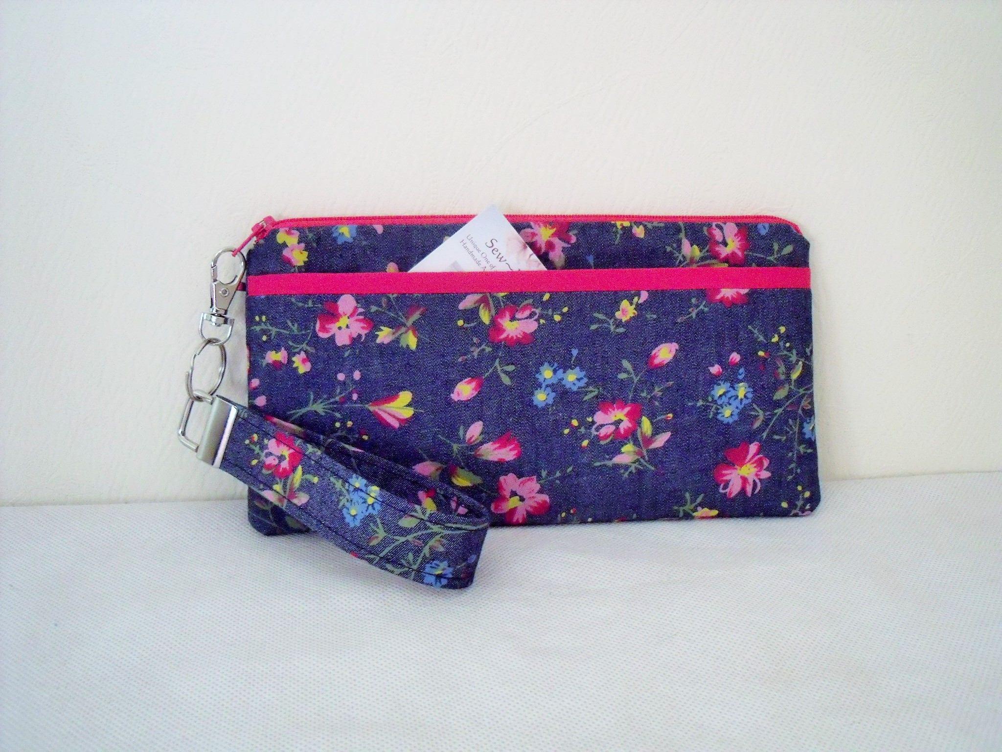 Floral chambray denim clutch  Purse  Wristlet Wallet evening Bag wrist strap key fob blue pink handmade