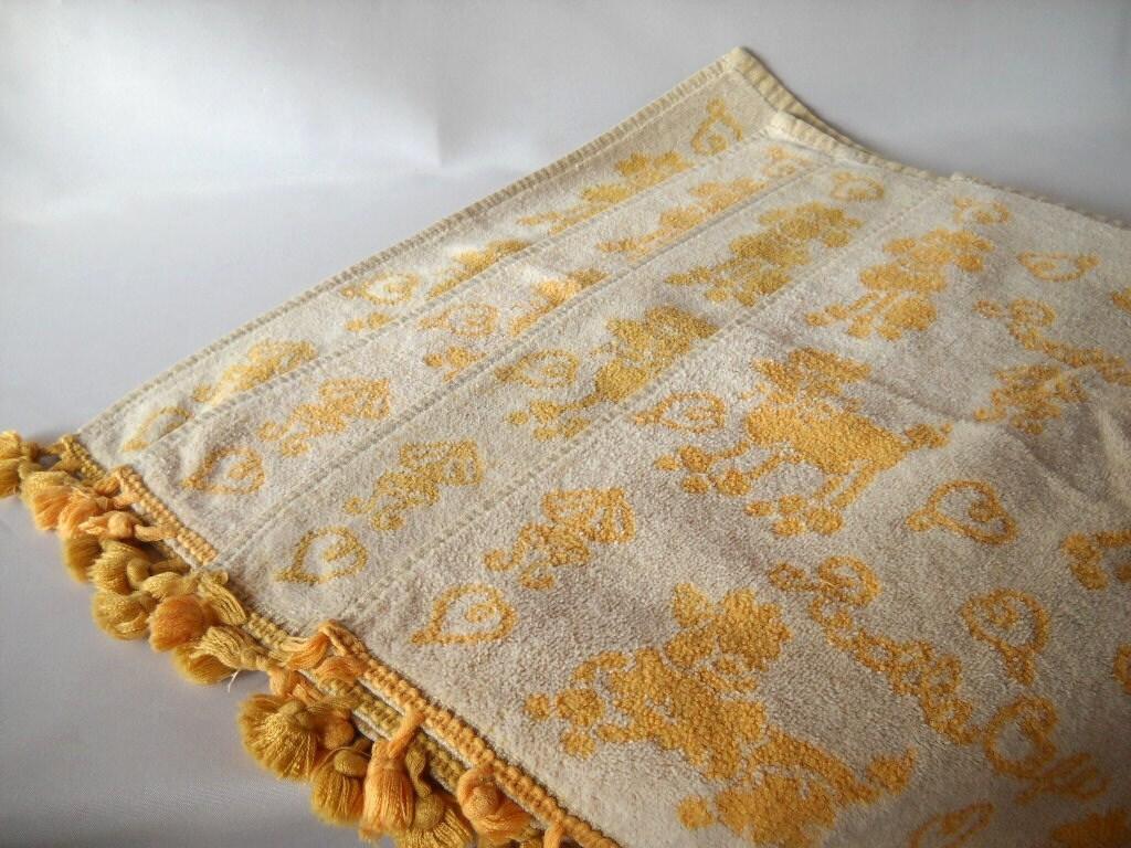 Vintage Hand Towels Mustard Yellow Towels Poodle By Vintageeye