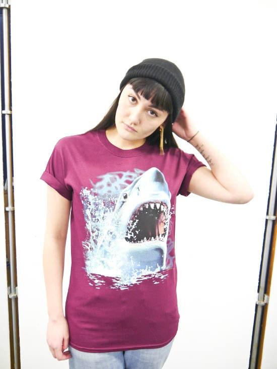 Wildlife Shark Attack Tshirt Shark Tee Shark top Sharks Unisex Retro Animal Nature Aquatic New