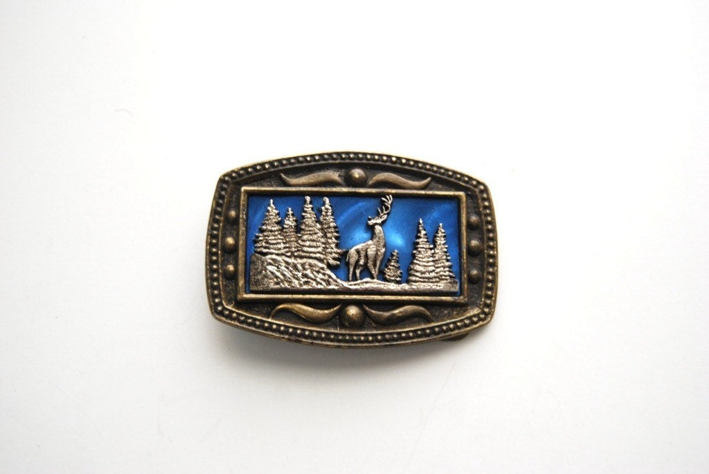 Vintage 70s Belt Buckle Brass Deer Wilderness Western Cowboy - retroEra