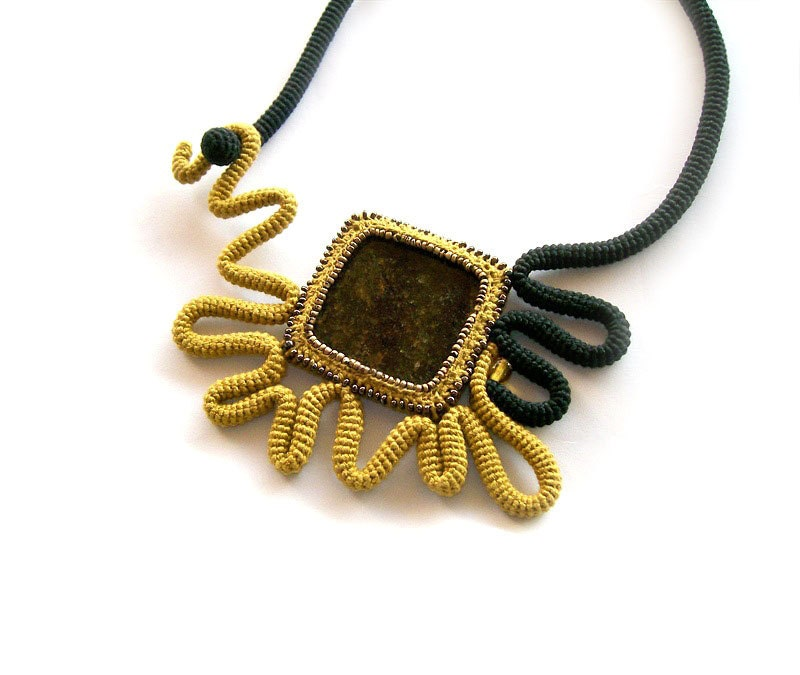 Crochet Necklace Granite Square - Mustard Yellow Black - Abstract Sunflower - gift for her under 50 - vanessahandmade
