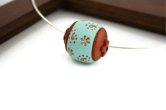 Paisley necklace sky blue terracotta polymer bead jewelry - Ahkriti