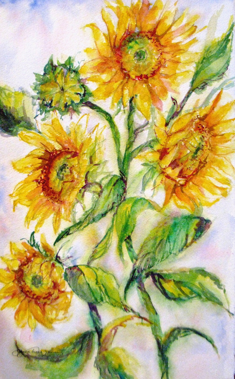 Large Abstract Sunflowers Original Watercolor By