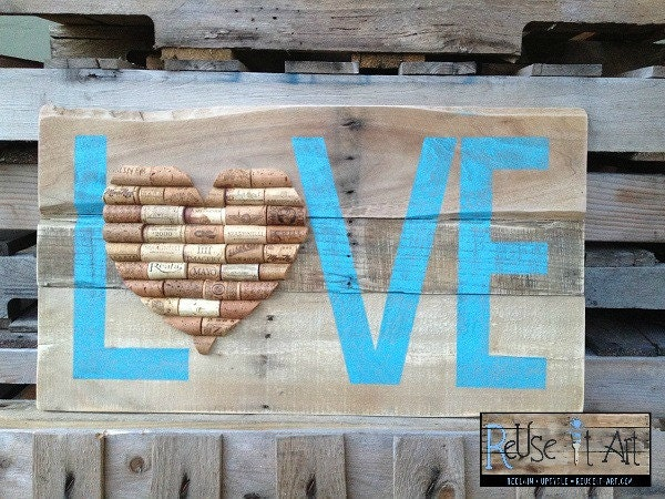 Wine Cork Heart Blue Love Distressed Wood Sign 26 x by ReUseItArt