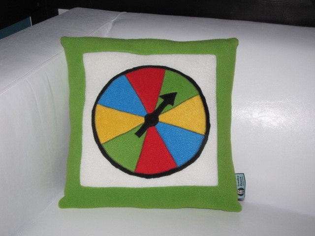 Board Game Spinner Pillow Geek Chic Home Decor by freakyfleece