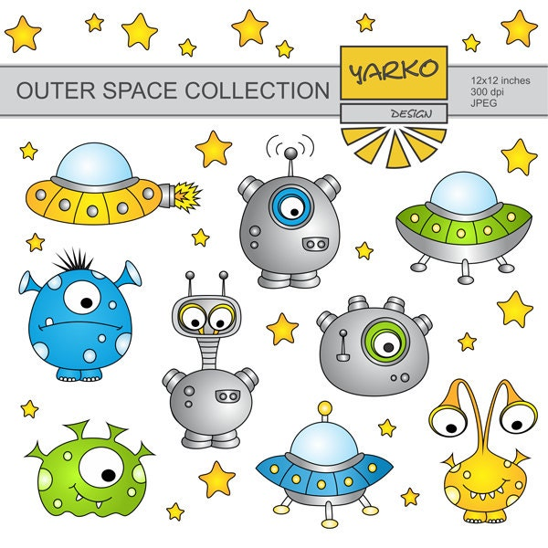 Outer Space Monsters Clip Art Cute Alien Clip Art by ...