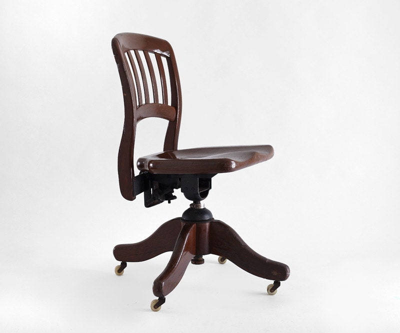 Vintage wood office chair mid century lounge dining modern retro