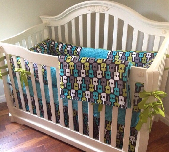 Groovy guitar 4pc boy crib bedding set made to by maxandgrace for Guitar bedding for boys