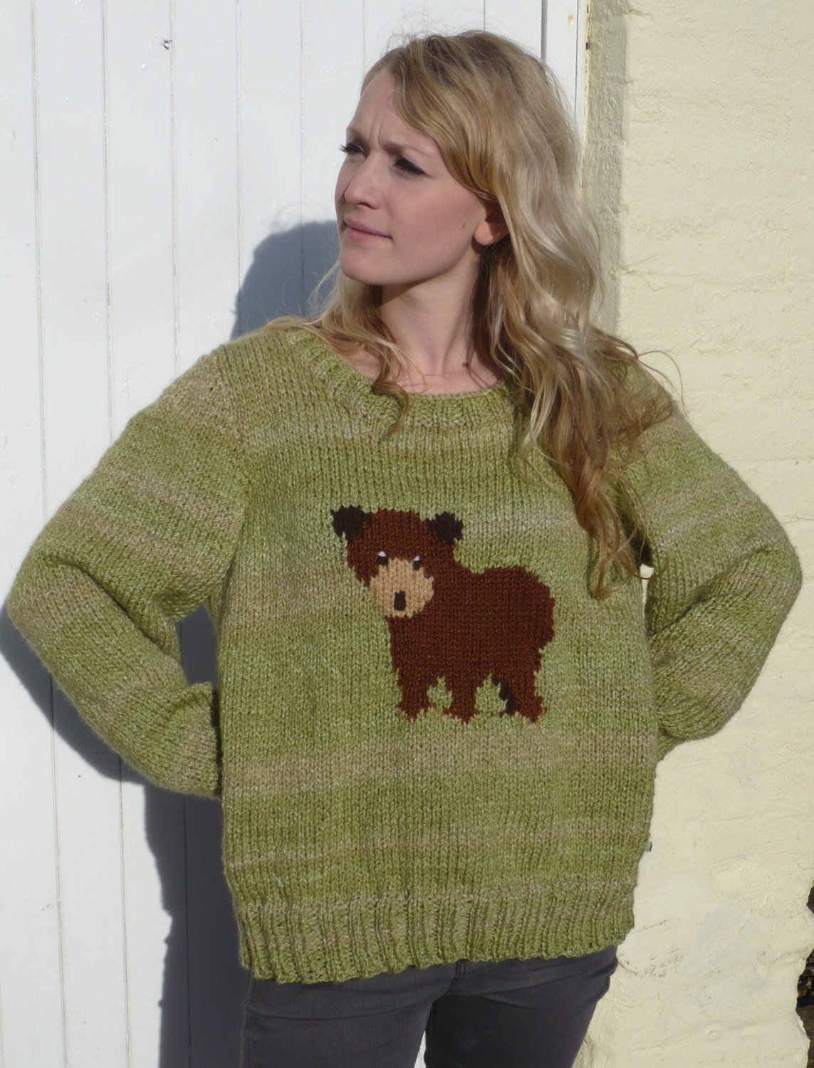Chunky Knit Jumper Pattern : Little Brown Bear Jumper Chunky Knitting Pattern by BernieBeeKnits