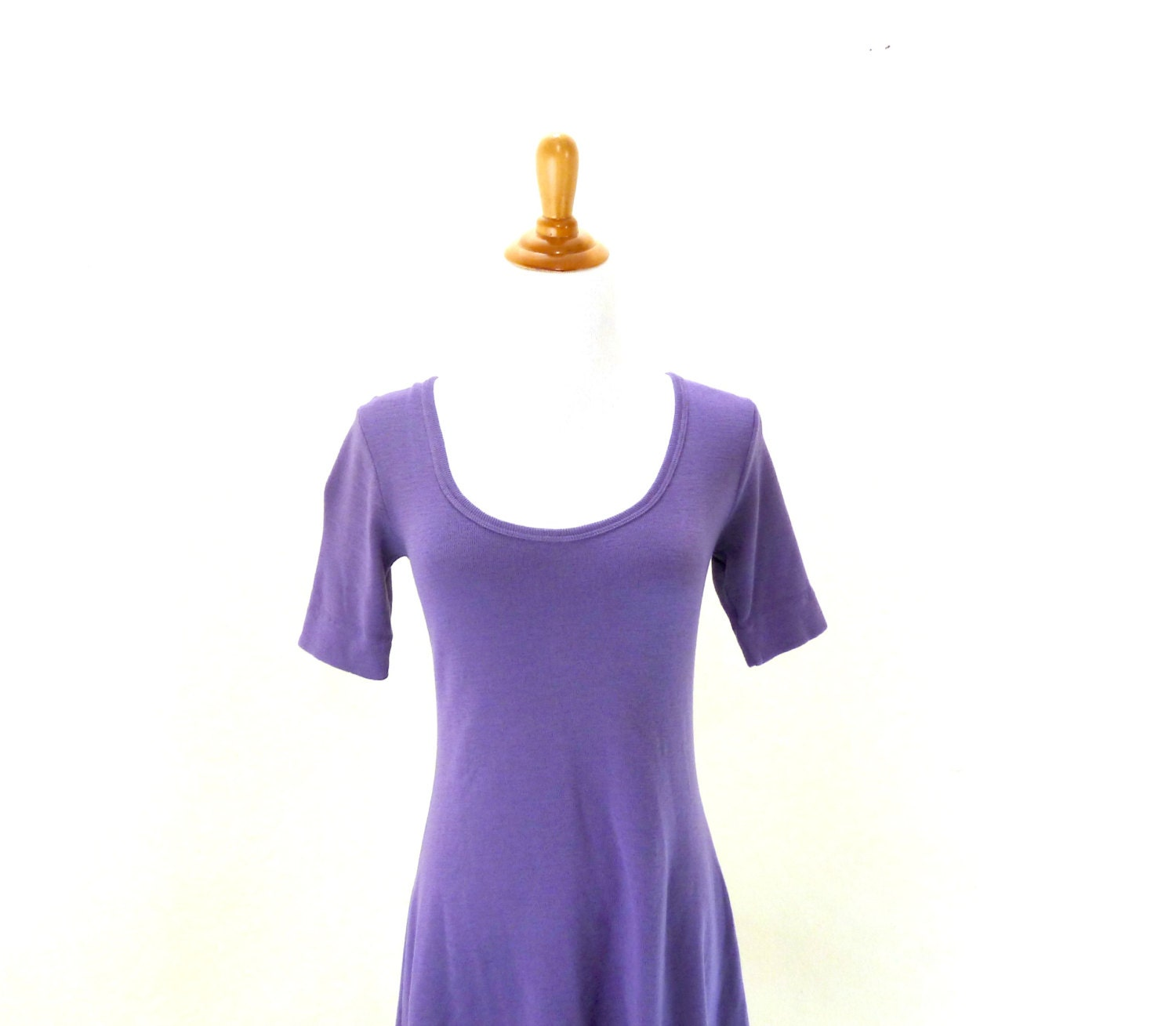 Vintage Purple Sweater Dress / Scoop Neck Dress / Knit Wool Dress S M - VintageEdition