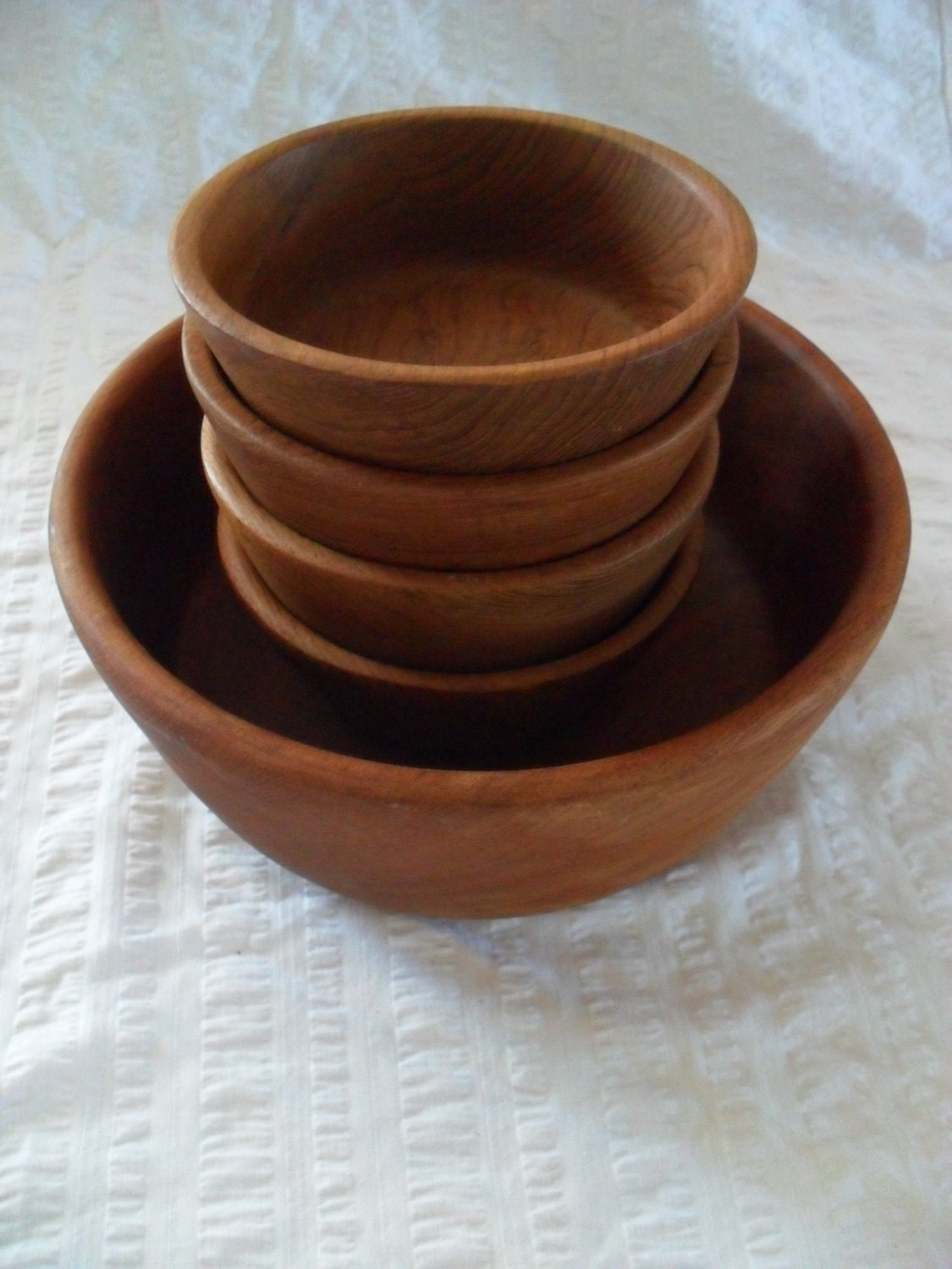 Teak Wood Salad Bowl Set of 5: Serving plus 4 Individual Knobler Thailand
