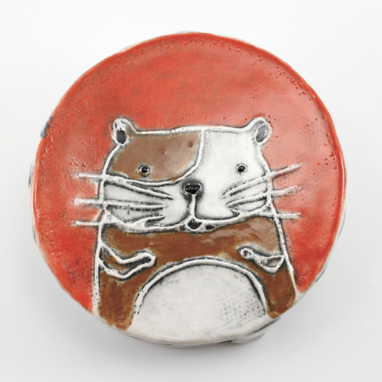 Hamster Magnetic Bud Vase holds water, flower, pen holder - orange, brown, white with chevron border