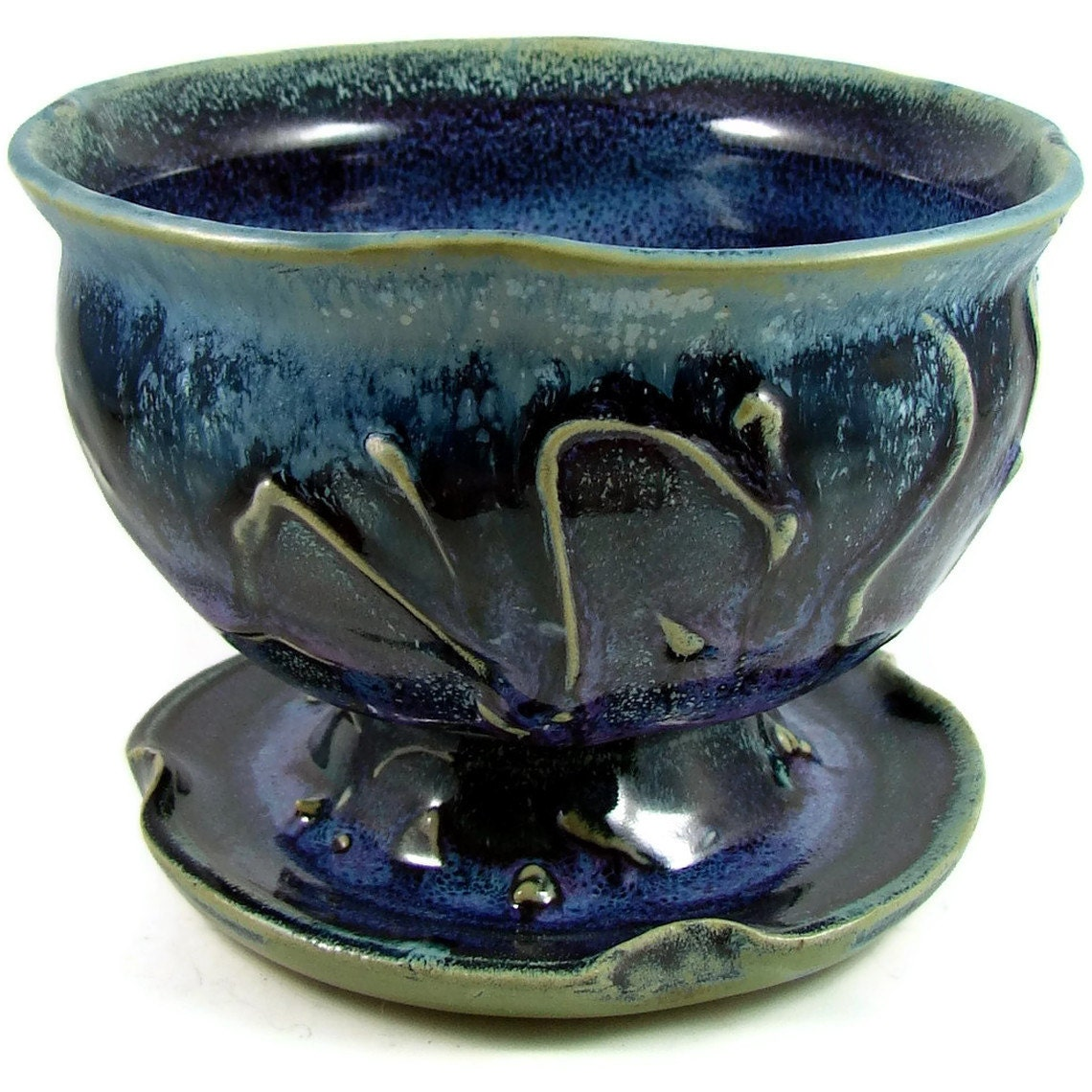 Ceramic bowl with pedestal base blue and purplel by patspottery - Ceramic pedestal table base ...