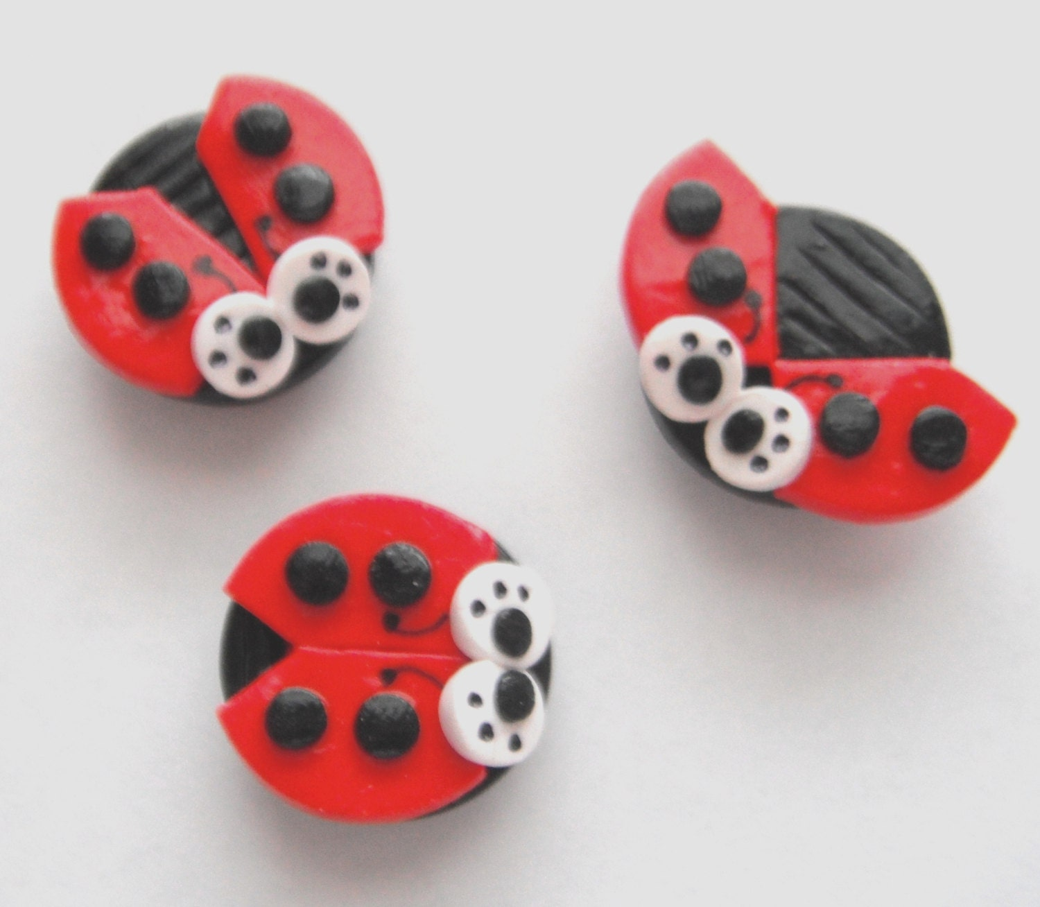 Magnets Ladybugs handmade polymer clay magnets ( 3 ) - digitsdesigns