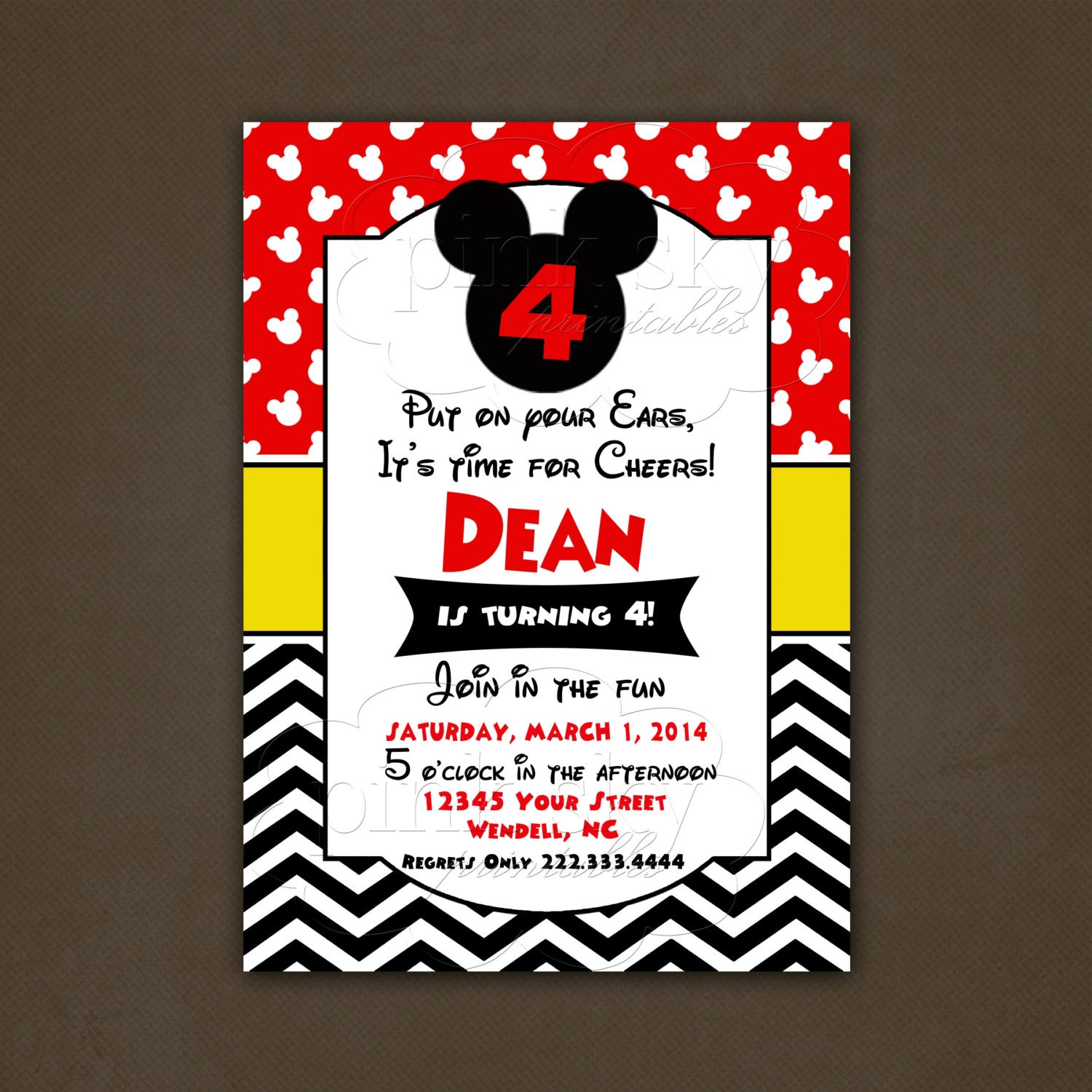 mickey mouse disney birthday invitations by pinkskyprintables