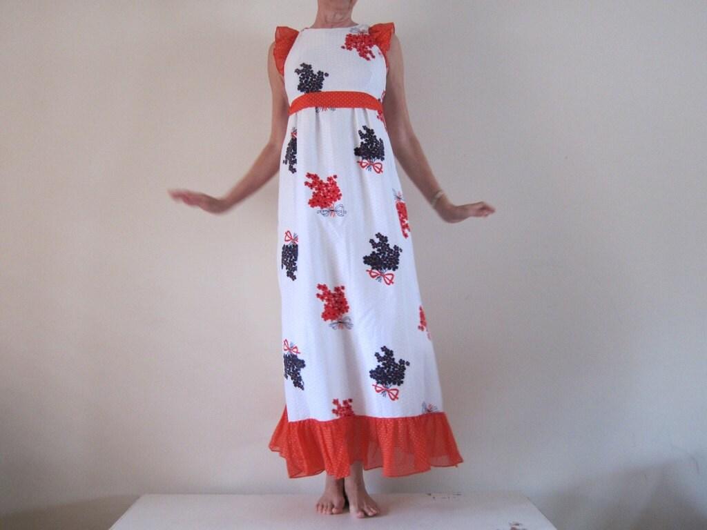 Vintage 1970s Ruffled Boho Hippie Retro Maxi Dress Red White Blue Floral Polka Dots XS - passionateflea