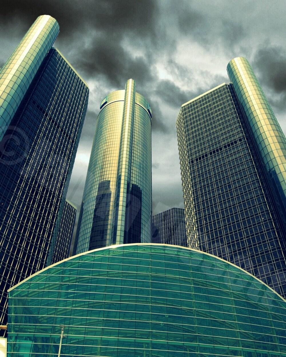 Detroit Ren Cen Building, Fine Art Photograph on Metallic Paper